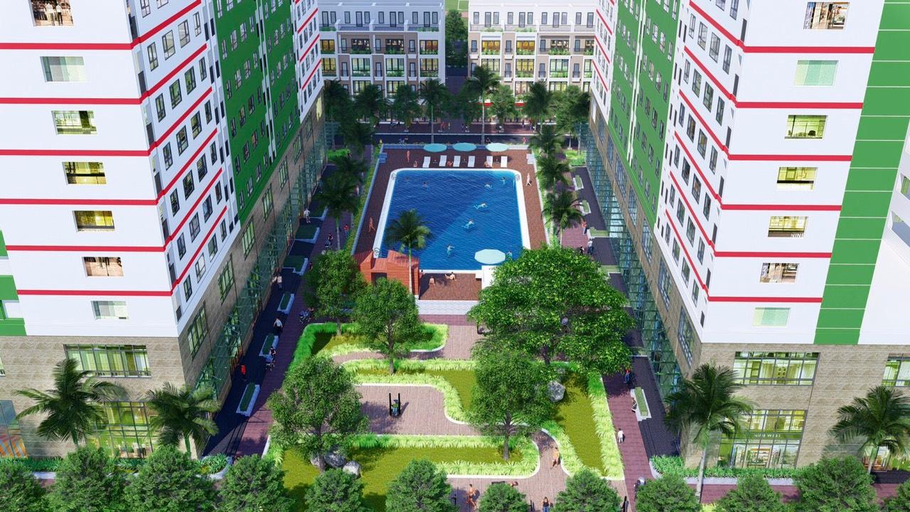 Bể bơi ngoài trời trong khuôn viên Dự án Nhà ở Xã hội EIC Complex Thanh Trì